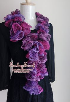 25.00$  Buy here - http://vimyq.justgood.pw/vig/item.php?t=k89hcm12948 - Violet Hot Pink Purple Crochet Scarf, Crochet Ruffle Scarf, Crochet Scarf, Ready to Ship, Ruffle Scarf, Woman Crochet Scarf, Fashion Scarf, Handmade Scarf, Frilly Scarf, Sequins Scarf, Sashay Scarf, Gift for her, Birthday Gift, M 25.00$