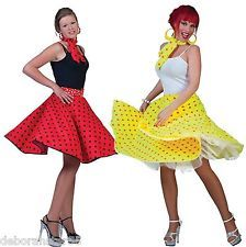 "1950s 60s Rock n Roll Polka Dot Skirt Jive Grease Costume 23"" Long 30-38"" Waist"