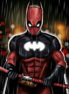 The only character better than batman and deadpool. its batpool! Comic Book Characters, Comic Book Heroes, Comic Character, Comic Books Art, Captain America, Deadpool Art, Deadpool Wallpaper, Im Batman, Batman Story