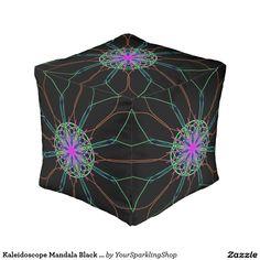 Kaleidoscope #Mandala Black Pink Star Cube Pouf