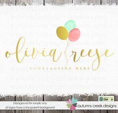 balloon logo photography logo party logo gold logo premade