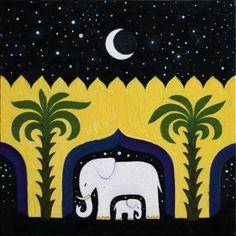"Saatchi Art Artist Anna Grinčuka; Painting, ""Elephant mother and child."" #art"