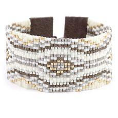 Cream Mix Beaded Cuff Bracelet
