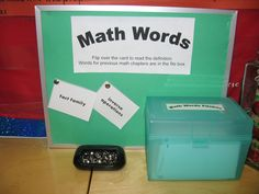 Math vocabulary and word walls.