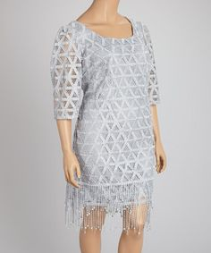 Another great find on #zulily! Silver Lace Fringe Shift Dress - Plus #zulilyfinds