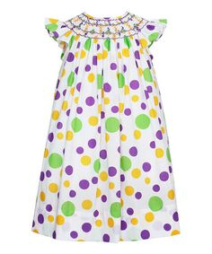 Green & Purple Dot Angel-Sleeve Dress - Infant, Toddler & Girls #zulilyfinds