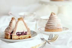 Mont Blanc - Cassis. Contains pâte sucrée, almond cream, blackcurrant jam, chestnut mousse, chantilly and chestnut creams. Recipe for chestnut mousse and instructions for assembly | natalie e