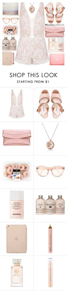 """All-in-One: Sleeveless Jumpsuits"" by barbarela11 ❤ liked on Polyvore featuring Miu Miu, Chanel, Black Apple, NYX and Tory Burch"