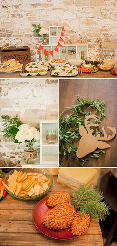 Beautiful Woodland Themed Baby Shower- I like the ball jar wrapped with hemp and the pine cone creation... creative!