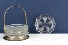 Mid Century Vintage Glass Coasters by Reims France by MomsCurioCabinet on Etsy
