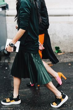 Pleats and sneakers at #PFW. #fashion #style #streetstyle