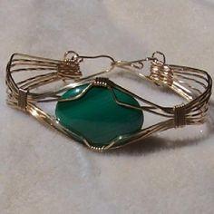 FREE S/H - Beautiful Malachite and Gold Wire Wrapped Bracelet - A JewelryArtistry Original - BR35