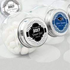 Personalized Graduation Party Favor Candy Jars (Event Blossom EB2100Z) | Buy at Wedding Favors Unlimited (http://www.weddingfavorsunlimited.com/personalized_graduation_candy_jars.html).