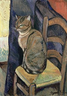 Study of a Cat - Suzanne Valadon - Paris 1918. Valadon, 1865-1938, was a French painter born Marie-Clémentine Valadon at Bessines-sur-Gartempe, Haute-Vienne, France. In 1894, Valadon became the first woman painter admitted to the Société Nationale des Beaux-Arts.
