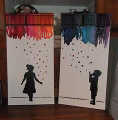 Crayon Art - My grandkids in painted silhouette with melted crayons. I combined melting the crayons and dropping crayon drips for bubbles.