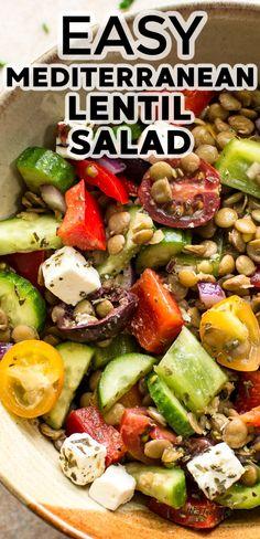 Pork Recipes, Lunch Recipes, Vegetarian Recipes, Fast Healthy Meals, Easy Healthy Recipes, Lentil Salad Recipes, Superfood Salad, Summer Drink Recipes, Appetizer Salads