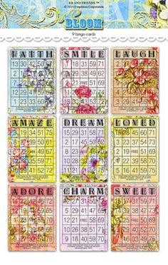 Digital Romantic Floral Bingo Cards/ nine by KBandFriends on Etsy, $5.00
