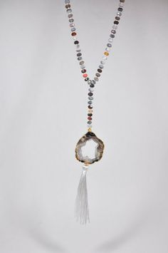 Sliced Agate Drusy Rosary Necklace on Botswana Agate
