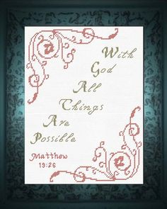 Cross Stitch Ideas Cross Stitch Bible Verse Matthew With God all things are possible - Cross Stitch Bible Verse Matthew With God all things are possible Hand Embroidery Patterns Free, Learn Embroidery, Cross Stitch Embroidery, Embroidery Designs, Cross Stitch Charts, Cross Stitch Designs, Cross Stitch Patterns, Brazilian Embroidery, Embroidery Techniques