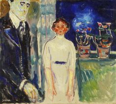 Edvard Munch - Man and Woman by the Window with Potted Plants