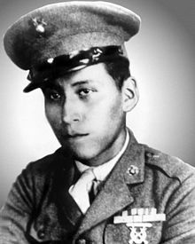 Mitchell Red Cloud, Jr. (2 July 1924 – 5 November 1950) was a Marine in the United States Marine Corps during World War II, and later a soldier in the United States Army during the Korean War. In spite of being shot eight times, Mitchell Red Cloud, Jr. ordered his men to tie him to a tree so he could keep fighting, action for which he received the Medal of Honor. Red Cloud was the third of four Native Americans to be awarded the Medal of Honor in Korea.