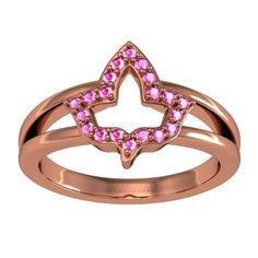 Alpha kappa Alpha Ivy Leaf Ring with Pink CZs (AKA-R004) (1)