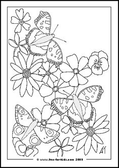 Butterfly with Flowers Coloring Pages  To print just the picture