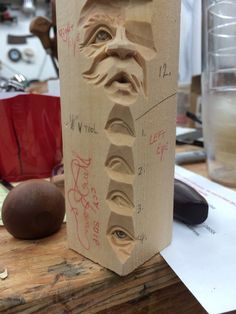 Carving a face study stick - DVD — Steve Brown Woodcarving, Wood Carving Faces, Dremel Wood Carving, Wood Carving Designs, Wood Carving Patterns, Wood Carving Art, Wood Carvings, Wood Art, Steve Brown, Face Study