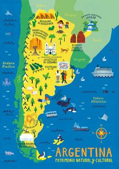 Illustrated maps of Argentina, for Diente de Leon Puzzles, an Argentine enterprise. Visit Argentina, Argentina Travel, America City, South America Travel, Travel Maps, Travel Posters, Argentina Culture, Map Puzzle, Pictorial Maps