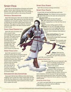 Homebrewing ideas Homebrewing spirits DnD Homebrew Spirit Folk Race from Vani Swiftbottoms Guide to. Dnd 5e Races, D D Races, Dungeons And Dragons Races, Dungeons And Dragons Homebrew, Science Fiction, Dnd Classes, Racing Quotes, Dnd 5e Homebrew, Dnd Monsters