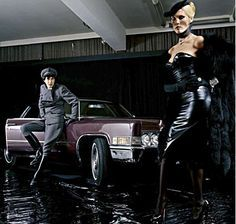 Behind the scenes of the For Your Pleasure cover shoot with Amanda Lear and Bryan Ferry. Photo by Karl Stoecker.