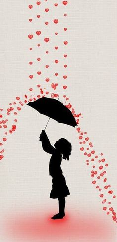 This makes me think of Banksy Umbrella Art, Under My Umbrella, Banksy Graffiti, Bansky, I Love Heart, Art Plastique, Be My Valentine, Silhouettes, Stencil