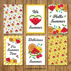 Hand drawn watermelon summer cards  Free Vector