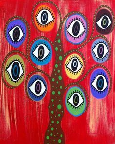 Kerri Ambrosino Art NEEDLEPOINT Mexican Folk Art Hamsa Evil Eye Tree Judaica on Etsy, $22.99