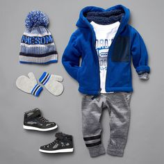 Toddler boys' fashion   Kids' clothes   Fleece full-zip hoodie   Jogger pants   Graphic tee   Sneakers   Mittens   Pom pom beanie   Activewear   PLACE Sport   The Children's Place