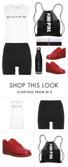 """White Must Go To The Gym Sports Tank Top"" by thestyleartisan ❤ liked on Polyvore featuring Lucas Hugh, NIKE, Victoria's Secret, women's clothing, women, female, woman, misses, juniors and gymstyle"