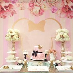 Wow!! How amazing is this Minnie Mouse/Tea Birthday Party?! The backdrop is gorgeous!! See more party ideas and share yours at CatchMyParty.com
