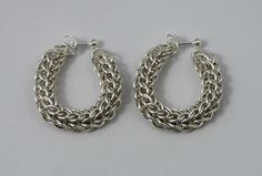 Silver Plated Loose Hoop Chainmaille Earrings - Full Persian - Chainmaille Jewellery by DelphiniCrafts on Etsy