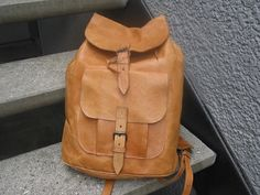 Vintage Natural Tan Leather Backpack by VintageClassicWares, $50.00