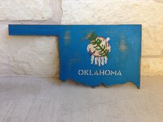 Oklahoma flag painted on state cutout by TheRusticRoosterAtx, $34.99