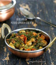 Vegan Richa: Potato Spinach or Rainbow Chard stir fry. Aloo Palak. Vegan Glutenfree Recipe