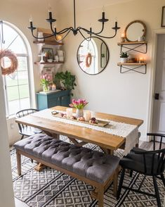 Designed by @shayfarm7 Tall Kitchen Cabinets, Country Farmhouse Decor, Rug Cleaning, Home Free, Table Centerpieces, Living Room Decor, Dining Room, Wool Rug, Home Goods
