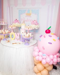 Ice cream🍦theme birthday 💖photography by Cake by shooters, cookies, and cakepops by… 2nd Birthday Party Themes, Donut Birthday Parties, Donut Party, 1st Birthday Girls, Birthday Party Decorations, Birthday Ideas, Birthday Cake, Turtle Birthday, Turtle Party