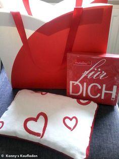 SET aus KIRSCHKERN KISSEN 300 g Wärmekissen Herz + SERVIETTEN +Tasche  GESCHENk