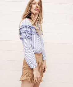 J.Crew women's tiered top in mixed stripes and ruffle khaki short.
