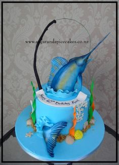 Blue Marlin Cake by Mel_SugarandSpiceCakes 40th Cake, Birthday Cakes For Men, Men Birthday, Gravity Defying Cake, Gravity Cake, Unique Cakes, Creative Cakes, Beautiful Cakes, Amazing Cakes