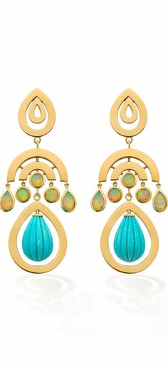 EVOKE: SIREN EARRINGS  Siren earrings set with opals and turquoise jangly drops in 9ct yellow gold