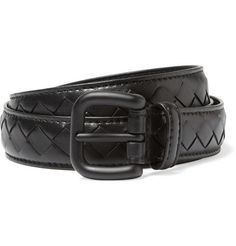 (Black) Bottega Veneta Slim Intrecciato-effect leather belt