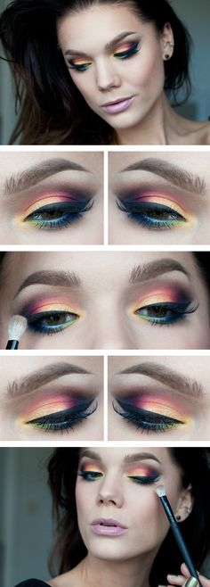 "Today's Look : ""Bird of Paradise"" -Linda Hallberg (a gorgeous array of colors... violets, browns, burgundies, orange, yellow, blue, green... this look has it all)10/17/13"