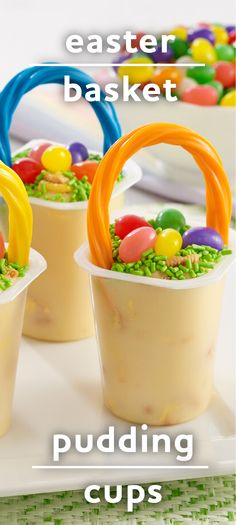 Easter Basket Pudding Cups | Quick, easy Easter dessert! | Adorable jelly bean pudding treats for a hoppy holiday!